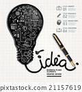 Business doodles Ink shaped light bulb on paper.  21157619