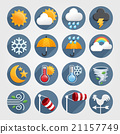 Weather flat icons color set. Vector illustration 21157749