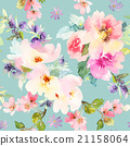 Seamless pattern with flowers watercolor. 21158064