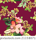 Seamless pattern with flowers watercolor 21158071