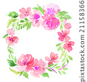 Watercolor wreath. Handmade. Illustration. 21158366