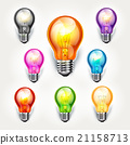 Realistic light bulb color set. 21158713