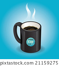 Black coffee cup on blue background.  21159275