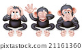 monkey, listening, cartoon 21161360