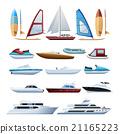 Boats  And Windsurfer Flat Icons Set  21165223