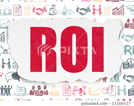 Business concept: ROI on Torn Paper background 21166517