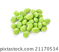 Green soybeans on white background 21170534