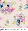 Seamless pattern with flowers watercolor 21171693