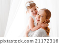 Happy loving family. mother and child hugging and hugging 21172316