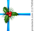 Holly With Christmas Blue Ribbon 21175856