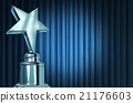 Silver Star Award On Blue Curtains 21176603