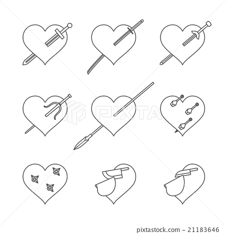 Heart and weapons icons set stab and cut concept 21183646