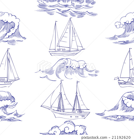 Seamless pattern with waves and ships 21192620