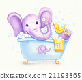 Bathing baby elephant. 21193865