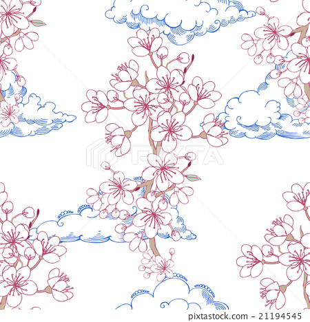 Seamless pattern  with sakura and clouds 21194545