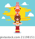 Cute Animal Totem Pole 21198151
