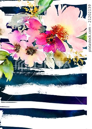 Stock Illustration: Greeting card with flowers
