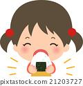 女孩歡呼onigiri帶著微笑 21203727