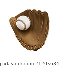 vector Old vintage leather baseball glove with  21205684