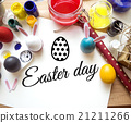 Coloring Easter Eggs for easter day concept 21211266