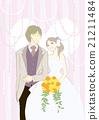 여성과 남성의 일러스트 (웨딩) 웨딩 드레스 21211484