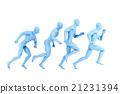 Running athletes. 3d illustration. Isolated 21231394
