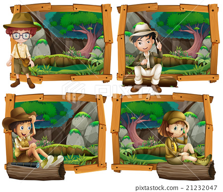 Boys and girl camping in the woods 21232047