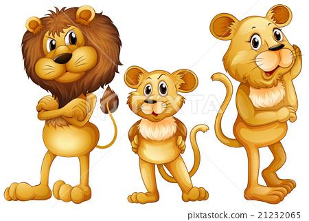 Lion Family Standing Together Stock Illustration 21232065 Pixta
