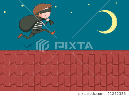 Robber with bag running on the roof 21232326