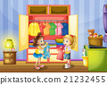 Two girls choosing clothes from closet 21232455