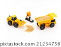dump truck, shovel loader, constructing 21234756
