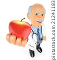 3D Doctor with a red apple. Healthy food concept 21241183