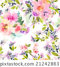 Seamless pattern with flowers watercolor 21242863