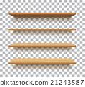 vector empty wooden shelf isolated background 21243587
