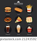 set of fast food with chalkboard background 21243592