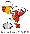 Shrimp Character is drinking beer. 21244239
