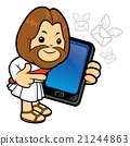 Jesus has been directed towards a smart phone. 21244863