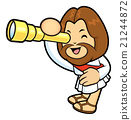Jesus Character is look through a telescope. 21244872