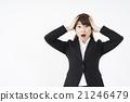 양손으로 머리를 움켜 패닉이있는 정장 차림의 여성 스트레스 정신적 데미지 고민 곤란 어쩔 21246479