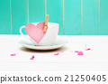Coffee cup with heart tag 21250405