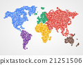 Dotted round world map. Abstract illustration. 21251506