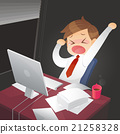 Businessman working overtime late night in office 21258328