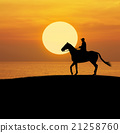 Man riding horse over sunset sky and sea 21258760