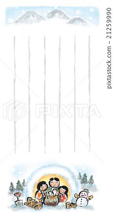 [One-stroke note] Japanese style illustration, snow, winter scenery, kamakura 21259990