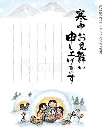 [Cold visit] Japanese style illustration, snow, winter scenery, kamakura 21260179