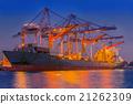 Beside of the cargo ship terminal. 21262309