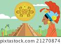 Pyramid Maya, chief of tribe Maya. Raster Mayan. 21270874