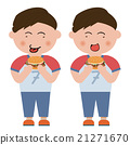 Little boy eating hamburger 21271670