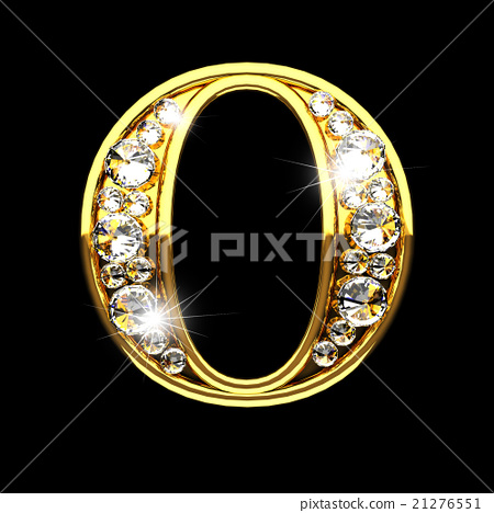 o isolated golden letters with diamonds on black 21276551