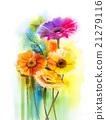Flowers watercolor painting daisy gerbera flowers 21279116